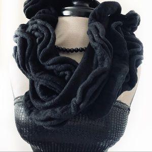 J. Crew Ruffle Wool/Cashmere Blend Black Scarf